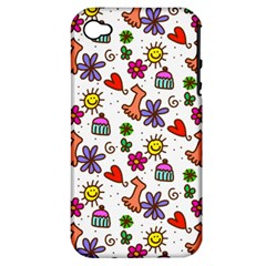 Doodle Pattern Apple iPhone 4/4S Hardshell Case (PC+Silicone)