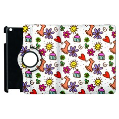 Doodle Pattern Apple iPad 2 Flip 360 Case