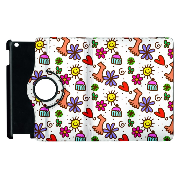 Doodle Pattern Apple iPad 3/4 Flip 360 Case