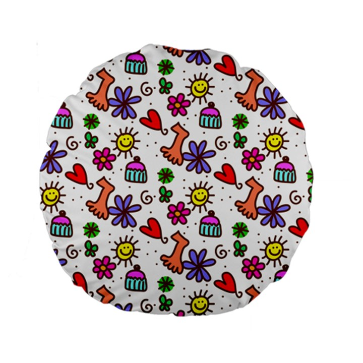 Doodle Pattern Standard 15  Premium Round Cushions