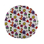 Doodle Pattern Standard 15  Premium Round Cushions Back