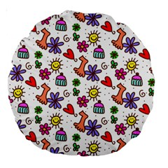 Doodle Pattern Large 18  Premium Round Cushions