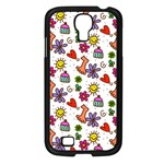 Doodle Pattern Samsung Galaxy S4 I9500/ I9505 Case (Black) Front