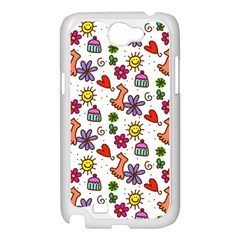 Doodle Pattern Samsung Galaxy Note 2 Case (White)