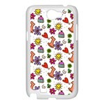 Doodle Pattern Samsung Galaxy Note 2 Case (White) Front