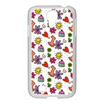 Doodle Pattern Samsung GALAXY S4 I9500/ I9505 Case (White) Front