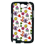 Doodle Pattern Samsung Galaxy Note 2 Case (Black) Front