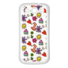 Doodle Pattern Samsung Galaxy S3 Back Case (White)