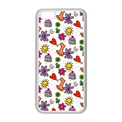 Doodle Pattern Apple iPhone 5C Seamless Case (White)