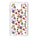 Doodle Pattern Samsung Galaxy Note 3 N9005 Case (White) Front
