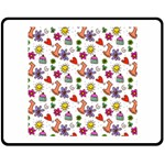 Doodle Pattern Double Sided Fleece Blanket (Medium)  60 x50 Blanket Front