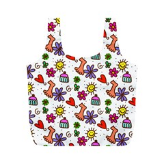 Doodle Pattern Full Print Recycle Bags (M)