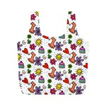 Doodle Pattern Full Print Recycle Bags (M)  Back