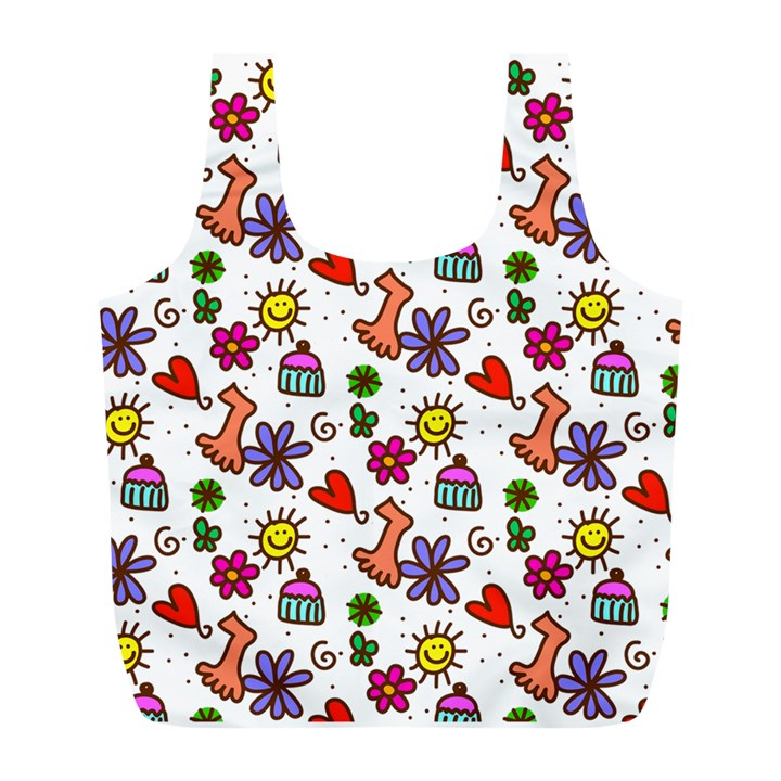 Doodle Pattern Full Print Recycle Bags (L)