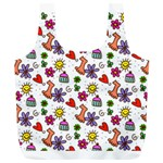 Doodle Pattern Full Print Recycle Bags (L)  Back