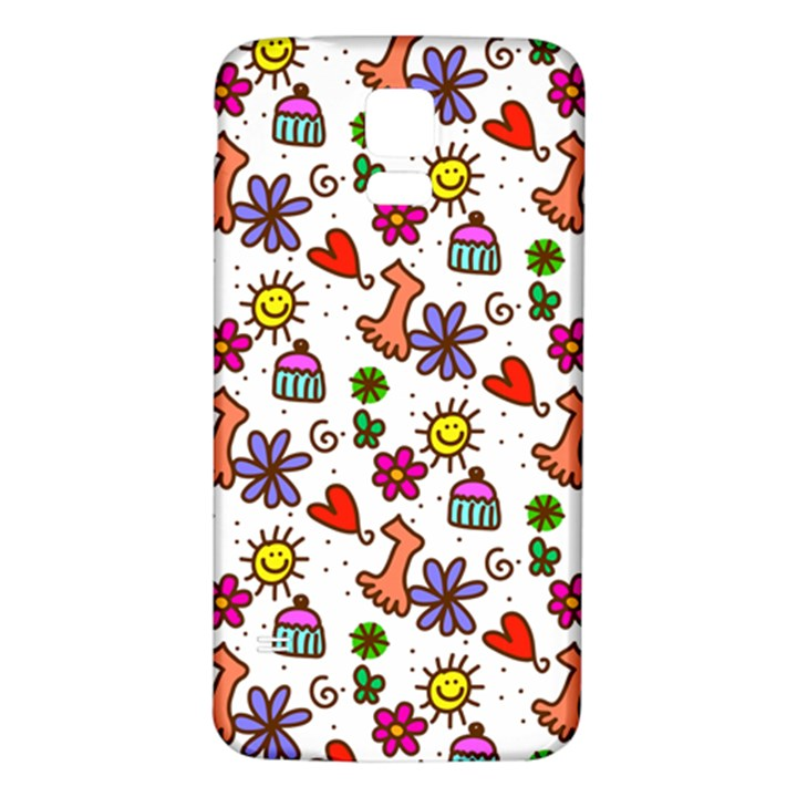 Doodle Pattern Samsung Galaxy S5 Back Case (White)