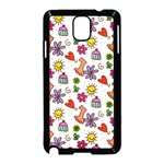 Doodle Pattern Samsung Galaxy Note 3 Neo Hardshell Case (Black) Front