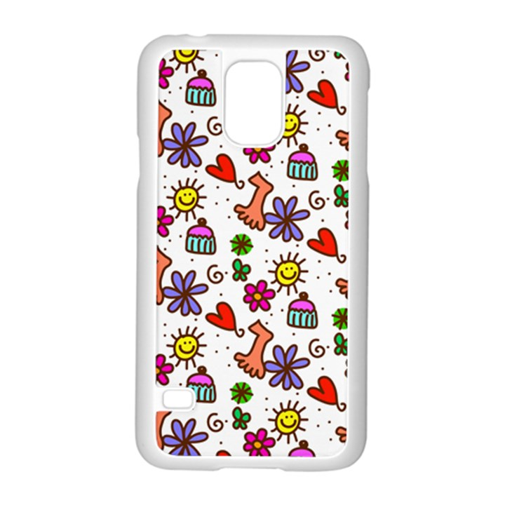 Doodle Pattern Samsung Galaxy S5 Case (White)
