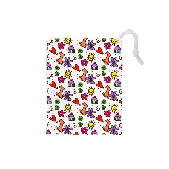 Doodle Pattern Drawstring Pouches (Small)