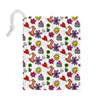 Doodle Pattern Drawstring Pouches (Large)  Back