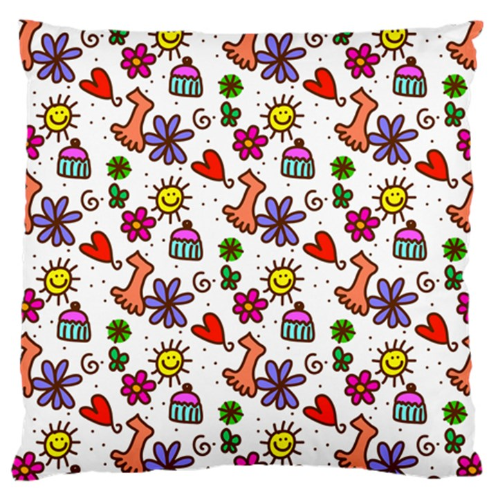 Doodle Pattern Standard Flano Cushion Case (One Side)