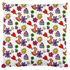 Doodle Pattern Large Flano Cushion Case (One Side)