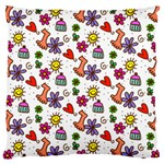 Doodle Pattern Large Flano Cushion Case (One Side) Front