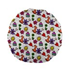 Doodle Pattern Standard 15  Premium Flano Round Cushions Back