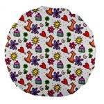 Doodle Pattern Large 18  Premium Flano Round Cushions Front