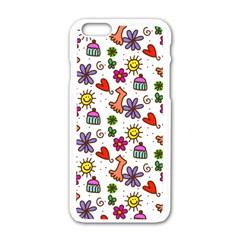 Doodle Pattern Apple iPhone 6/6S White Enamel Case