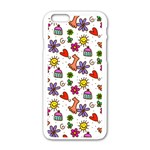 Doodle Pattern Apple iPhone 6/6S White Enamel Case Front