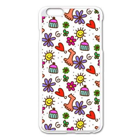 Doodle Pattern Apple iPhone 6 Plus/6S Plus Enamel White Case