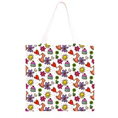 Doodle Pattern Grocery Light Tote Bag