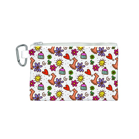 Doodle Pattern Canvas Cosmetic Bag (S)