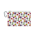 Doodle Pattern Canvas Cosmetic Bag (S) Front