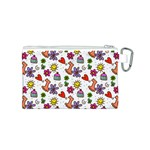 Doodle Pattern Canvas Cosmetic Bag (S) Back