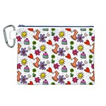 Doodle Pattern Canvas Cosmetic Bag (L) Front