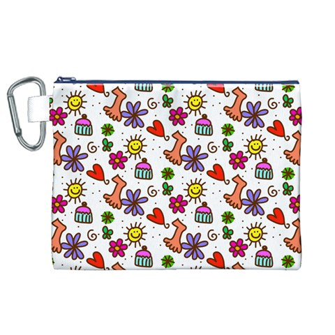 Doodle Pattern Canvas Cosmetic Bag (XL)