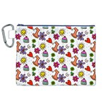 Doodle Pattern Canvas Cosmetic Bag (XL) Front