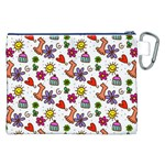 Doodle Pattern Canvas Cosmetic Bag (XXL) Back