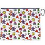 Doodle Pattern Canvas Cosmetic Bag (XXXL) Back