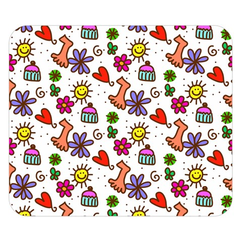 Doodle Pattern Double Sided Flano Blanket (Small)