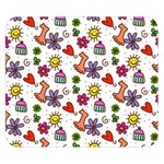 Doodle Pattern Double Sided Flano Blanket (Small)  50 x40 Blanket Front