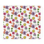 Doodle Pattern Double Sided Flano Blanket (Medium)  60 x50 Blanket Front