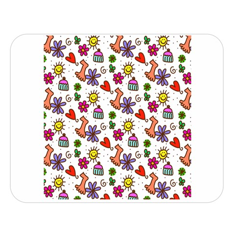 Doodle Pattern Double Sided Flano Blanket (Large)