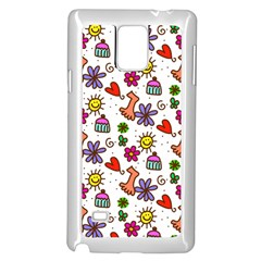 Doodle Pattern Samsung Galaxy Note 4 Case (White)
