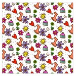 Doodle Pattern Large Satin Scarf (Square) Front