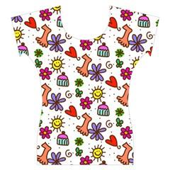 Doodle Pattern Women s Cap Sleeve Top