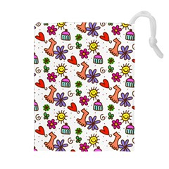 Doodle Pattern Drawstring Pouches (Extra Large)