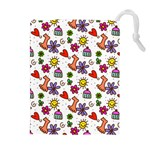Doodle Pattern Drawstring Pouches (Extra Large) Front